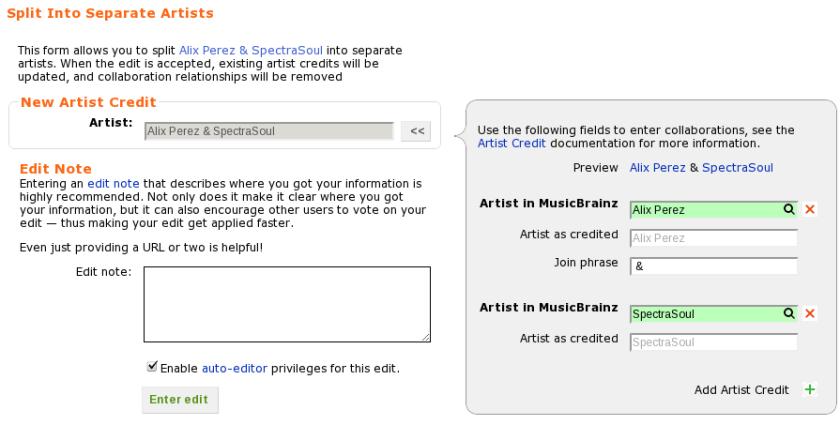 "The ""split artists"" form"