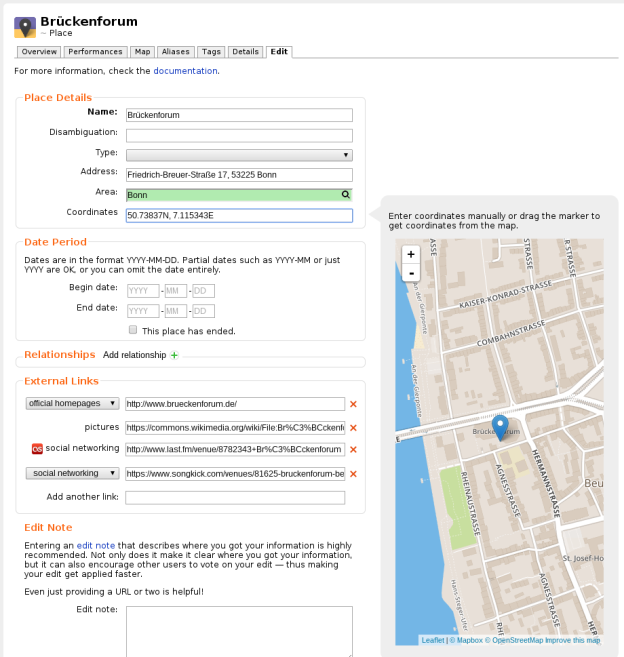 Screenshot of editing place coordinates using a map.