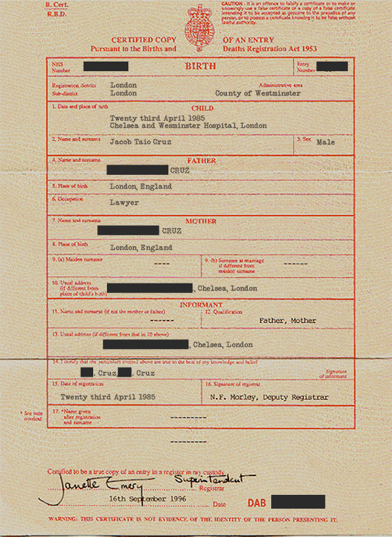 JTC - Birth Certificate