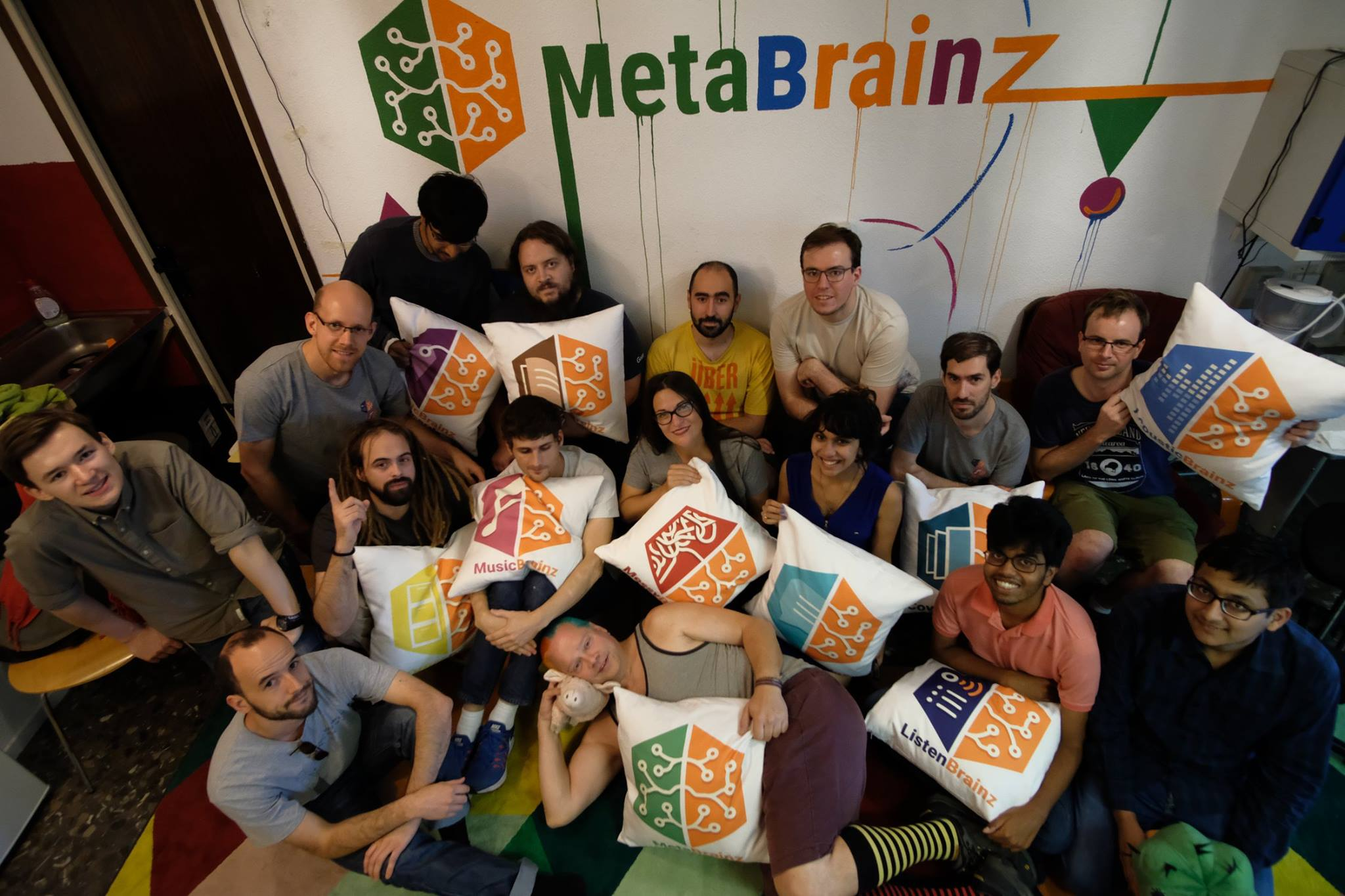 Summit participants with *Brainz pillows
